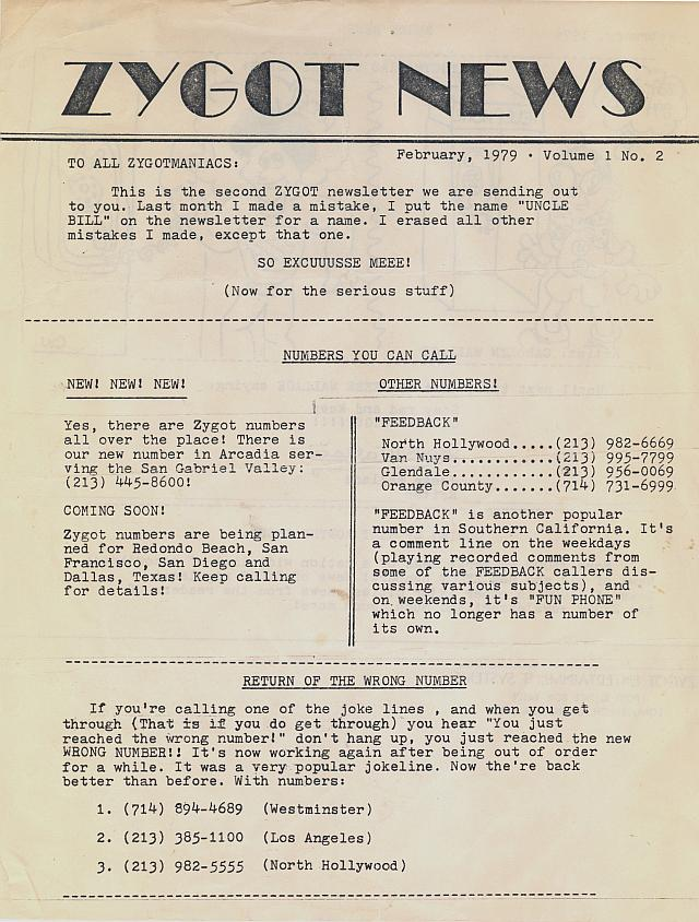 Zygot News Issue #2 February 1979 Page 1